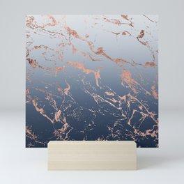 Modern grey navy blue ombre rose gold marble pattern Mini Art Print
