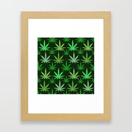 Marijuana Green Leaves Weed Framed Art Print