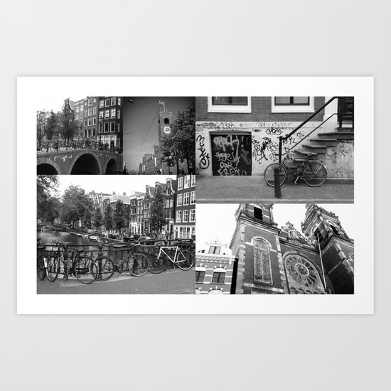 Photo collage Amsterdam 4 in black and white Art Print