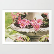 Pink Flowers in a Bowl Art Print