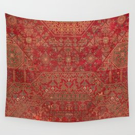 Bohemian Medallion II // 15th Century Old Distressed Red Green Colorful Ornate Accent Rug Pattern Wall Tapestry