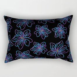 Outlined big purple and blue flowers Rectangular Pillow