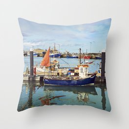 Howth Harbour Boats Throw Pillow