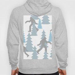 Pastel Blue Grey Winter Forest Yeti sasquatch silhouette  Abominable Snowman BigFoot  Hoody