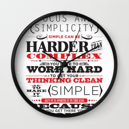 """Steve Jobs """"Focus and simplicity"""" quote print Wall Clock"""