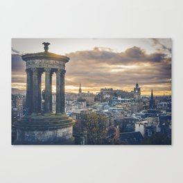 Edinburgh city and castle from Calton hill and Stewart monument Canvas Print
