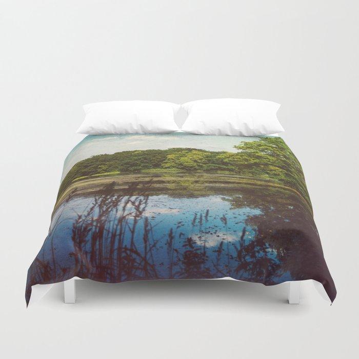 Summer Lake Landscape Duvet Cover