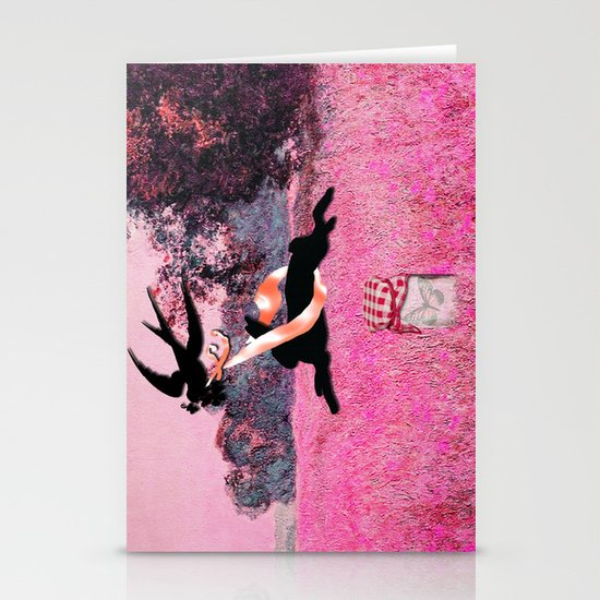 Pink Whimsical cute rabbit, bird vector on field collage Stationery Cards