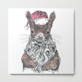 Santa Squirrel Metal Print