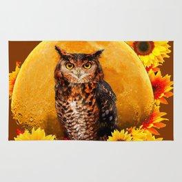 OWL MOON & SUNFLOWERS BROWN ART Rug