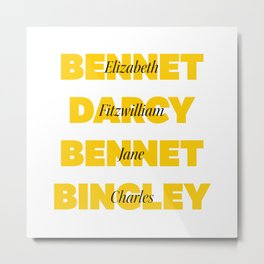 Characters from Pride and Prejudice in Yellow Metal Print