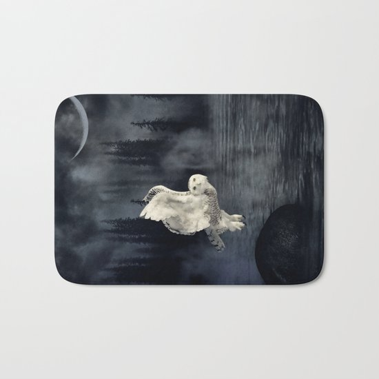 The owl and her mystical moon Bath Mat