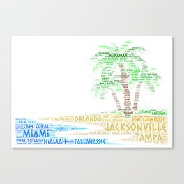 Tropical Island with Palm Trees illustrated with cities of Florida State Canvas Print