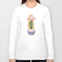 Papercraft Cactus in Orange Long Sleeve T-shirt