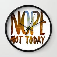 nope Wall Clocks featuring Nope by Trend