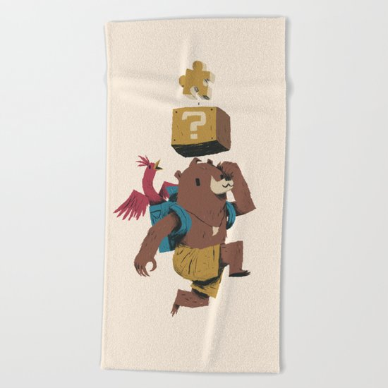 banjo block Beach Towel