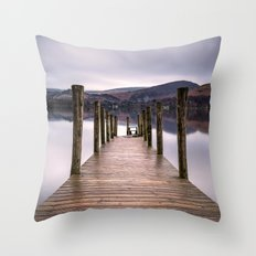 Lake View with Wooden Pier Throw Pillow