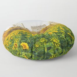 Central Park Sunflower Field Collage Floor Pillow