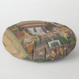Amīr Khusrau Dehlavī - Shirin Entertains Khusraw (1598) Floor Pillow