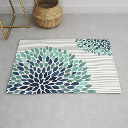 Floral Prints, Gray, Teal and Blue, Abstract Art Rug