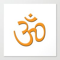 hindu Canvas Prints featuring Hindu om by gbcimages