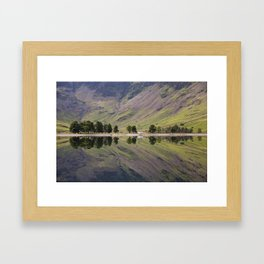 Tree reflections on Buttermere. Lake District, Cumbria, UK Framed Art Print