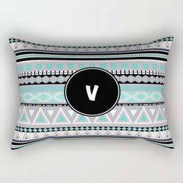 Monogram Tribal Pattern *V* Rectangular Pillow