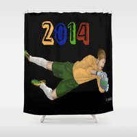 brazil Shower Curtains featuring Brazil 2014 by Lost Link Art