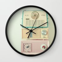 radio Wall Clocks featuring Radio Stations by Cassia Beck