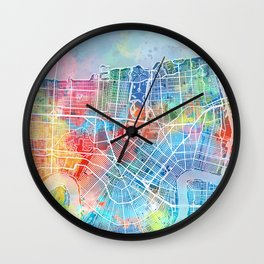 new orleans map watercolor Wall Clock