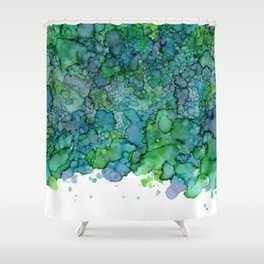 Green and Blue Are Friends - Abstract Ink Painting Shower Curtain
