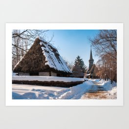 Picturesque street covered in snow at the Village Museum in Bucharest Art Print