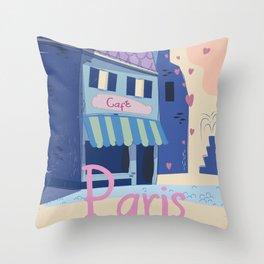 The little Parisian Cafe. Throw Pillow
