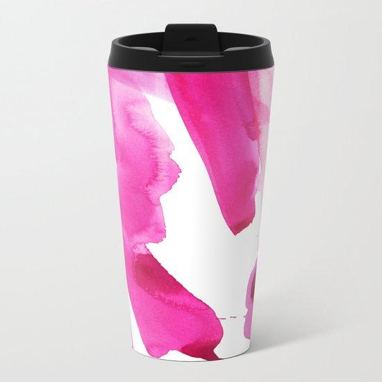 Pink Abstract I Metal Travel Mug
