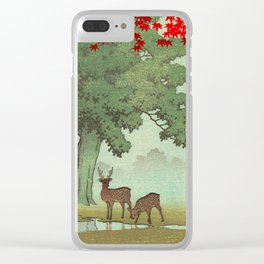 Vintage Japanese Woodblock Print Nara Park Deers Green Trees Red Japanese Maple Tree Clear iPhone Case