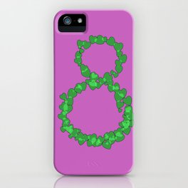 Number 8 on background with heart iPhone Case