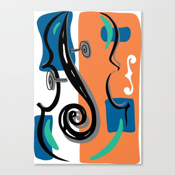 Scroll Pride - violin viola cello love - orange and teal Leinwanddruck