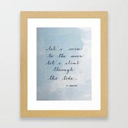 Let's swim to the moon Framed Art Print