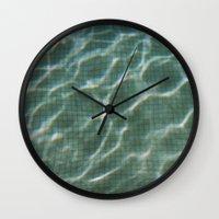 pool Wall Clocks featuring Pool by Marta Bocos