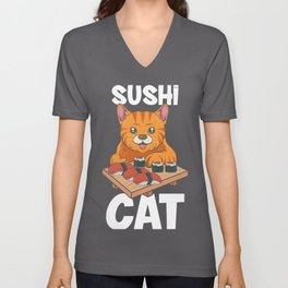Kawaii Sushi Cat Eating Fastest Food Unisex V-Neck