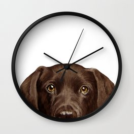 Labrador Chocolate original illustration by miart Wall Clock