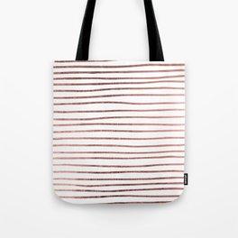 Chic elegant faux rose gold striped pattern Tote Bag
