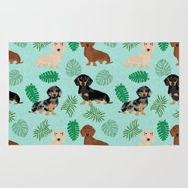 dachshund summer tropical monstera palms dog breed pure breed pets Rug