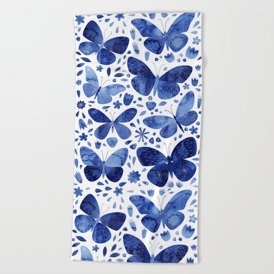 Blue Butterflies Beach Towel