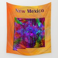 mexico Wall Tapestries featuring New Mexico Map by Roger Wedegis