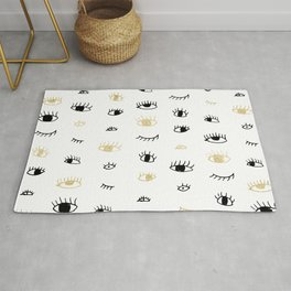 Funny fashion gold and black cute eyes pattern Rug