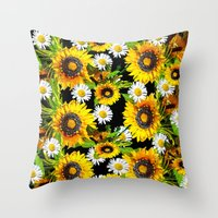 sunflowers Throw Pillows featuring Sunflowers by Saundra Myles