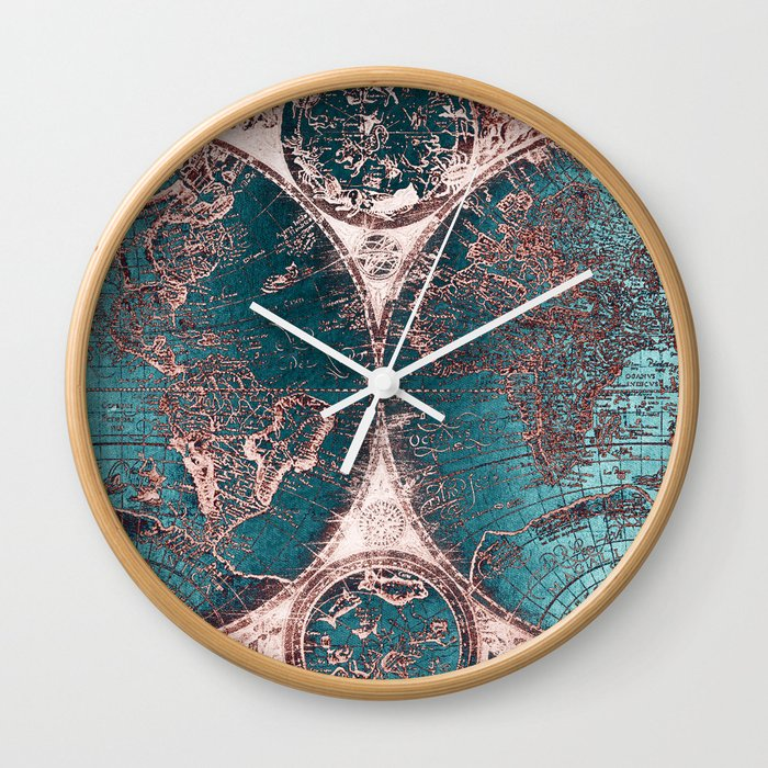 Antique world map pink quartz teal blue by nature magick wall clock antique world map pink quartz teal blue by nature magick wall clock gumiabroncs Image collections