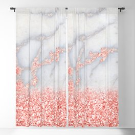 Sparkly Pink Rose Gold Glitter Ombre Bohemian Marble Blackout Curtain