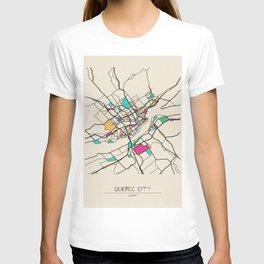 Colorful City Maps: Quebec City, Canada T-shirt
